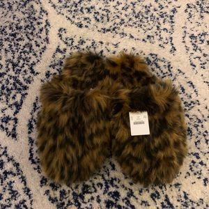 JCrew Fur Slippers Size Small
